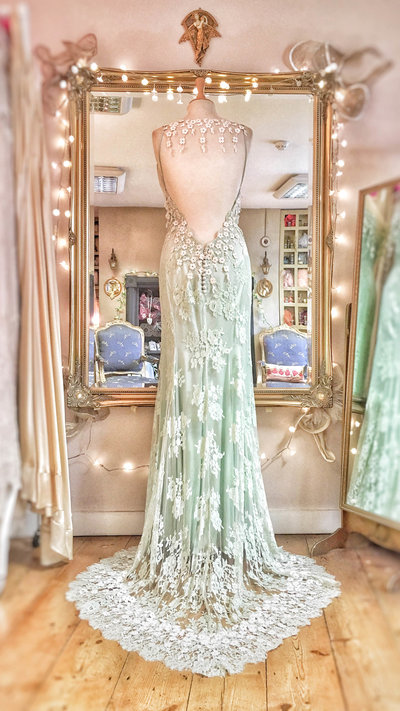 Tennyson_mint_green_lace_low_back_bohemian_wedding_dress_JoanneFlemingDesign_1