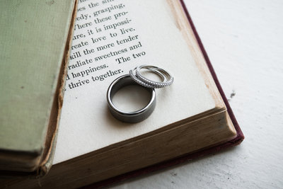 wedding rings on old book