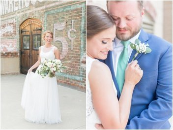 bride and groom pictures at the Old Cigar Warehouse