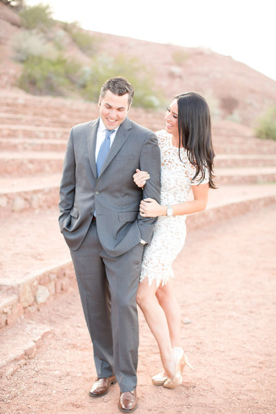 Romantic Sunset Desert Engagement Session with Lace Dress and Suite | Amy & Jordan Photography