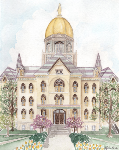 spring notre dame gold dome watercolor illustration