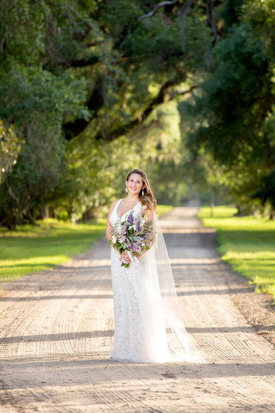 bridal portrait at mansfield plantation in georgetown, south carolina
