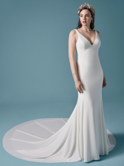 Crepe Fit-and-Flare Wedding Dress. Proof positive that minimalist is chic. And just wait until you feel the jersey lining in this simple crepe fit-and-flare.