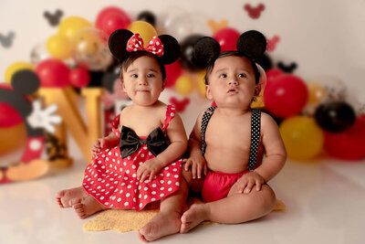 Beautiful little girls wearing a Minnie and Mickey outfit Orlando Florida