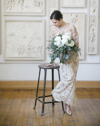 Bride in grandmothers beaded gown at pennsylvania Academy of the Fine Arts