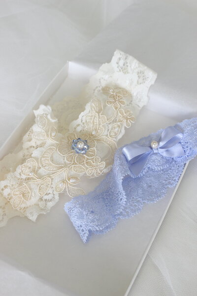 Custom garter set in ivory and powder blue with ivory applique pearls and blue crystals 1