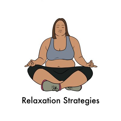"image of person doing yoga with text ""Relaxation Strategies"""