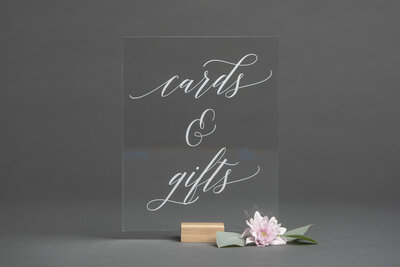 Clear Acrylic Cards and Gifts Sign