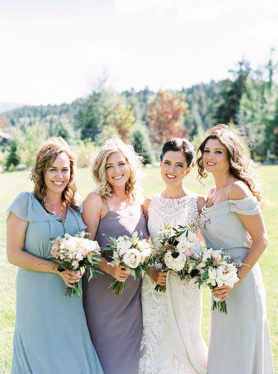 Bridesmaids in Blue for Rainbow Ranch Montana Wedding
