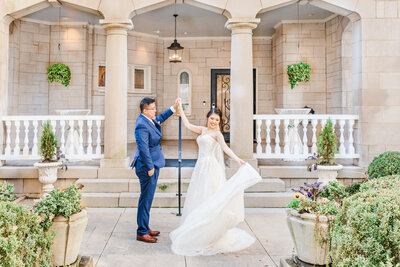 A photo of an Asian-American couple before their wedding at the Wimbish House by Jennifer Marie Studios, Atlanta's best wedding photographer.