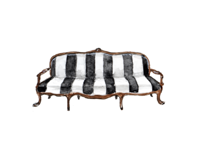 A painted black and white striped settee with claw feet.