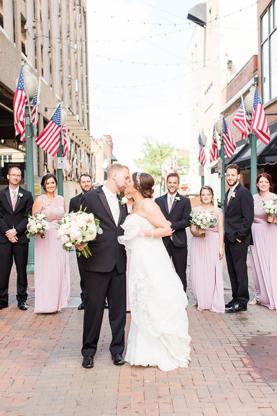 Bridal party photo photographed at the Onesto in downtown Canton by a akron ohio wedding photographer
