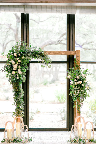 White and Green ceremony arch