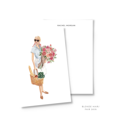 Farmer's Market Girl cute summer Fashion Illustration