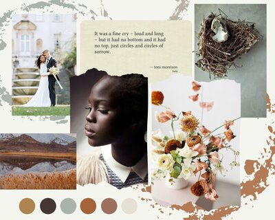 Brown Orange and Green DIY Collage Color Inspiration Moodboard Photo Collage