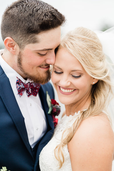 Close up of bride and groom in Alabama