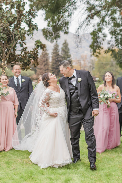 bride and groom portrait with cathedral veil at wonder valley ranch