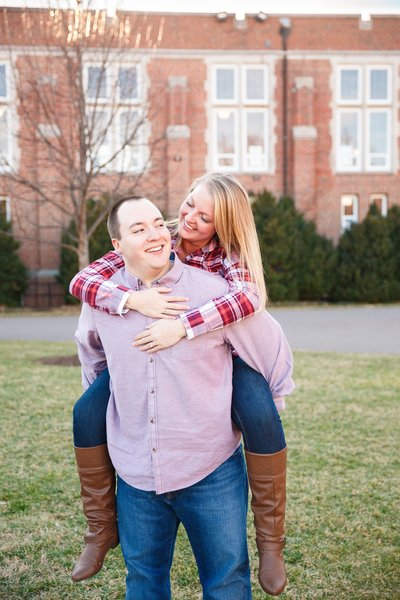 Jennifer Laura Photography engagement session at Roanoke College in Roanoke Virginia guy carrying girl piggyback