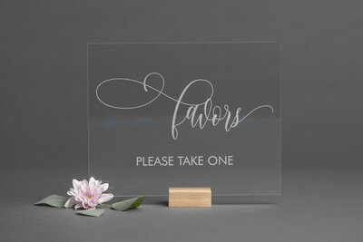 Clear Acrylic Favors Sign