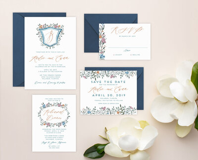 Dusty Blue and Navy Wedding Invitations with Simple crest and watercolor flowers