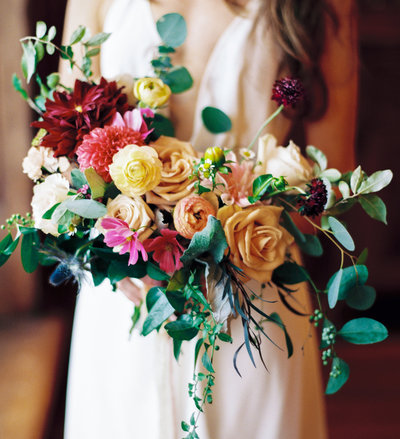 wedding bouquet held by bride