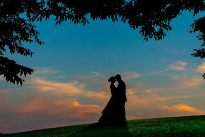 Baltimore wedding photographer sunset silhouette