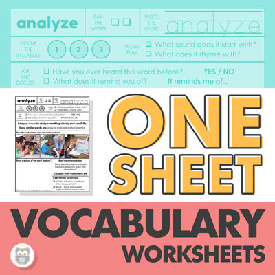 One sheet vocabulary worksheets for SLPs