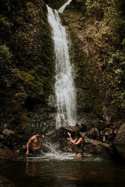 couple in waterfall
