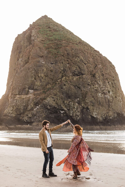 Adventure elopement at Cannon Beach, OR