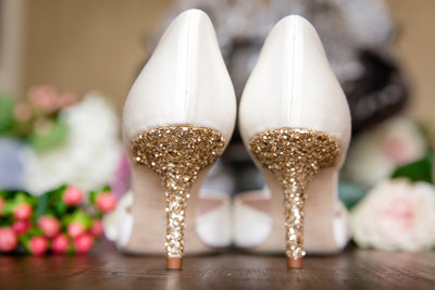 Gold and White Sparkle Shoes