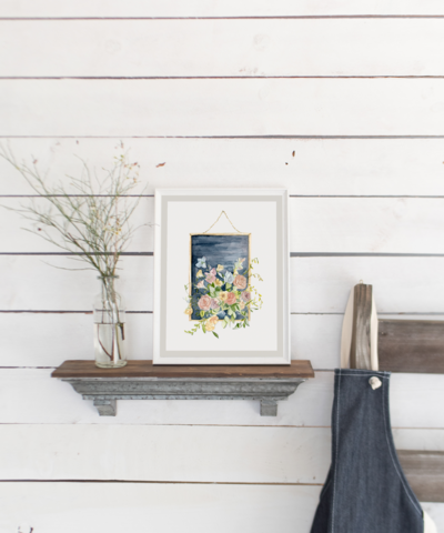 Watercolor Floral Picture Frame Print