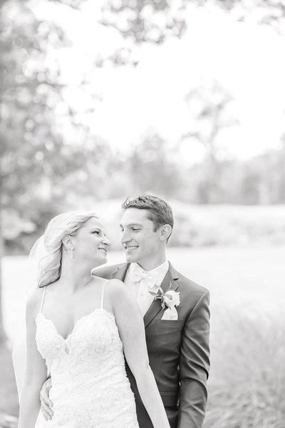 Romantic black and White portrait of bride and groom