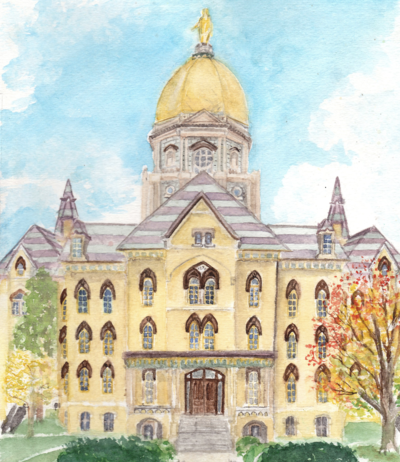 autumn notre dame gold dome illustration