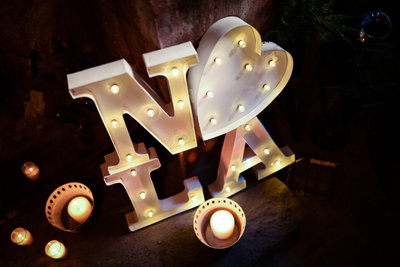 NOLA custom metal lighted sign at Race and Religious New Orleans Wedding