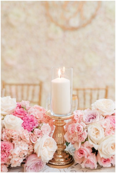 blush-cream-gold-wedding-colors-sweetheart-table-candle-pillar-floral-wall-wedding-inspiration