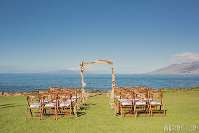 Maui ocean front wedding venue set up