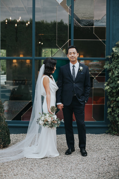 Modern bride and groom portrait shot at Fig House wedding in Los Angeles