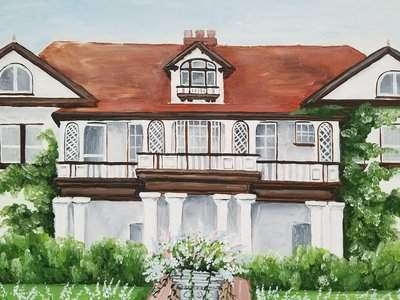 Historic Longview Mansion Missouri custom wedding venue painting