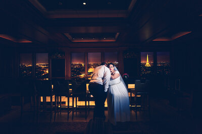 bride and groom in skyline lounge on disney dream