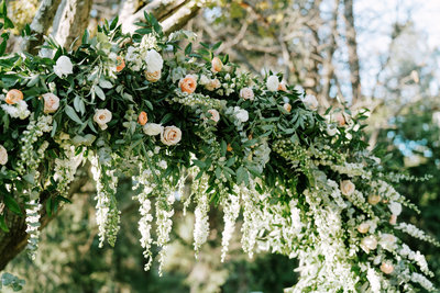 Floral arch at a wedding ceremony