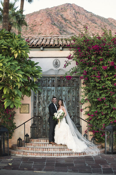 Sophisticated romantic Royal Palms wedding photos, wedding ceremony in the Alegria Garden at the Royal Palms, Orange Grove and Estrella Salon Ballroom.