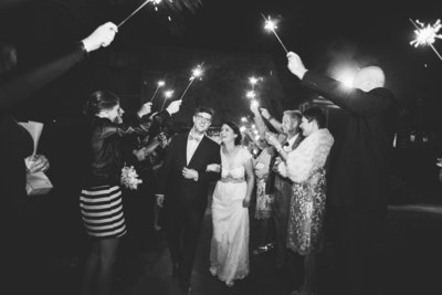 Bride and groom sparkler exit at Boomerang Farm wedding filmed by videographer Alexei Malko