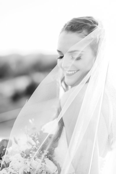black and white image of bride and groom at dallas wedding