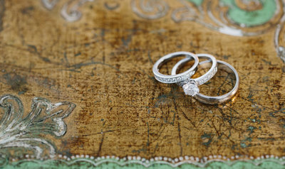 Wedding rings on map