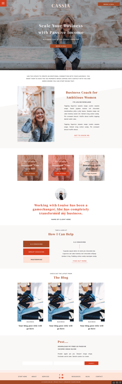 Homepage design of the Cassia Showit website template