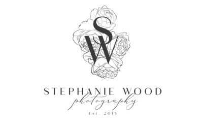 Stephanie Wood Photography Modern Logo Stamp - dk-grey-tsp bckd-2 -small