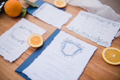 Hand Painted Watercolor Crest Wedding Invitations on Handmade Deckled Edge Paper