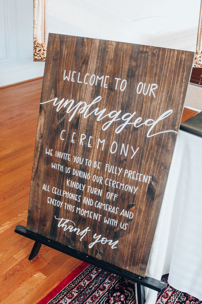Wood Unplugged Ceremony Sign Rental Wedding Central PA