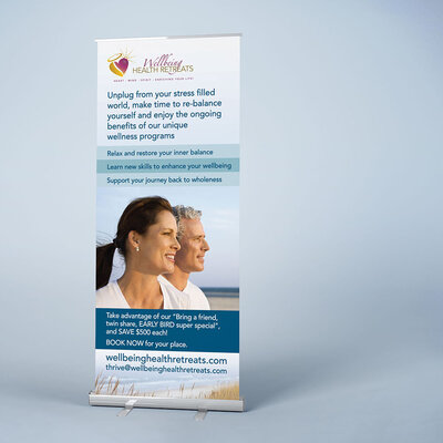Wellbeing Health Retreats Pull up Banner by The Brand Advisory