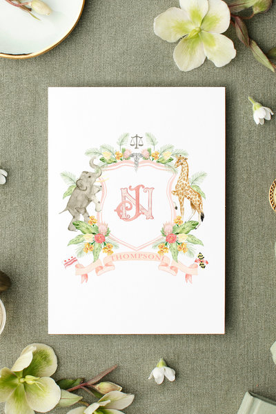 Custom-Watercolor-Crest-The-Welcoming-District-Naina-Josh